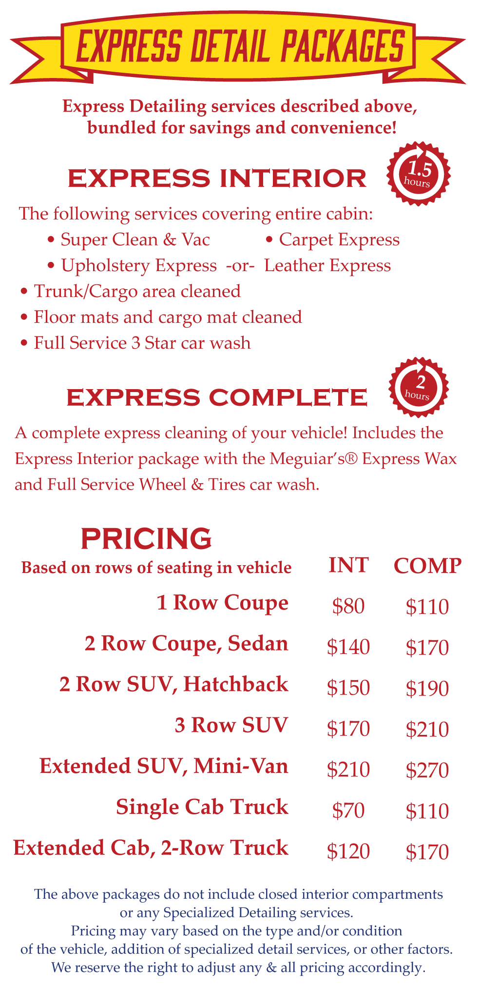 Choose your express car detail package from the following options.